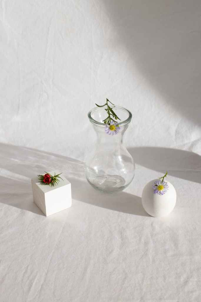 delicate small flowers placed on vase and various geometric decorations