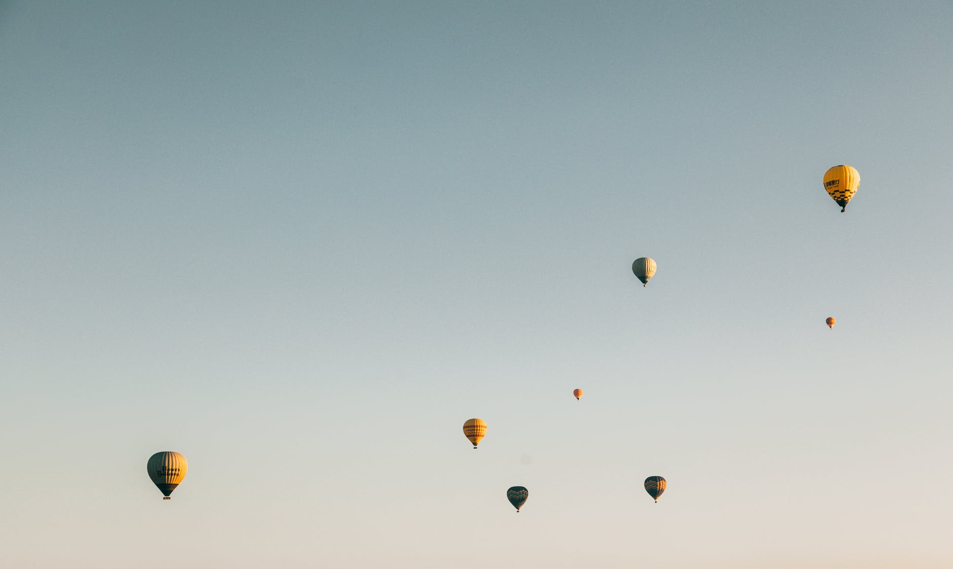 colorful air balloons flying in cloudless sky