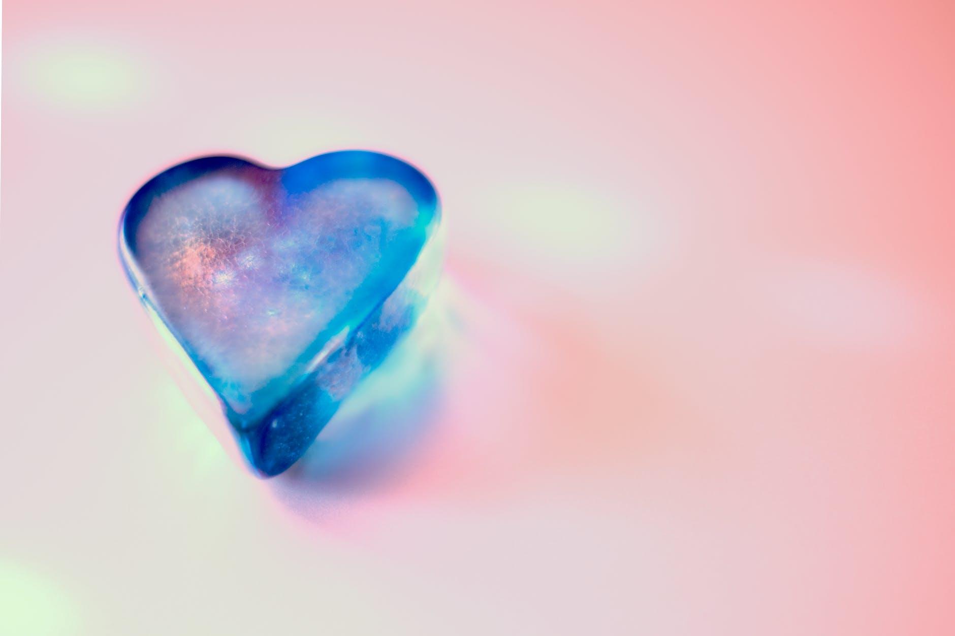 blue glass heart pebble