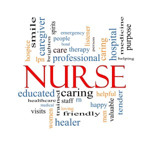 Nurse Word Cloud Concept with great terms such as rn, care, brighten, caring, helpful and more.