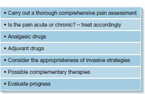 Top: definitions of pain, acute pain, chronic pain; Middle: list- principles of pain management; Bottom: three step analgesic ladder has three columns; left- severity of pain, middle- related to ÒopioidÓ, right- medicine names.