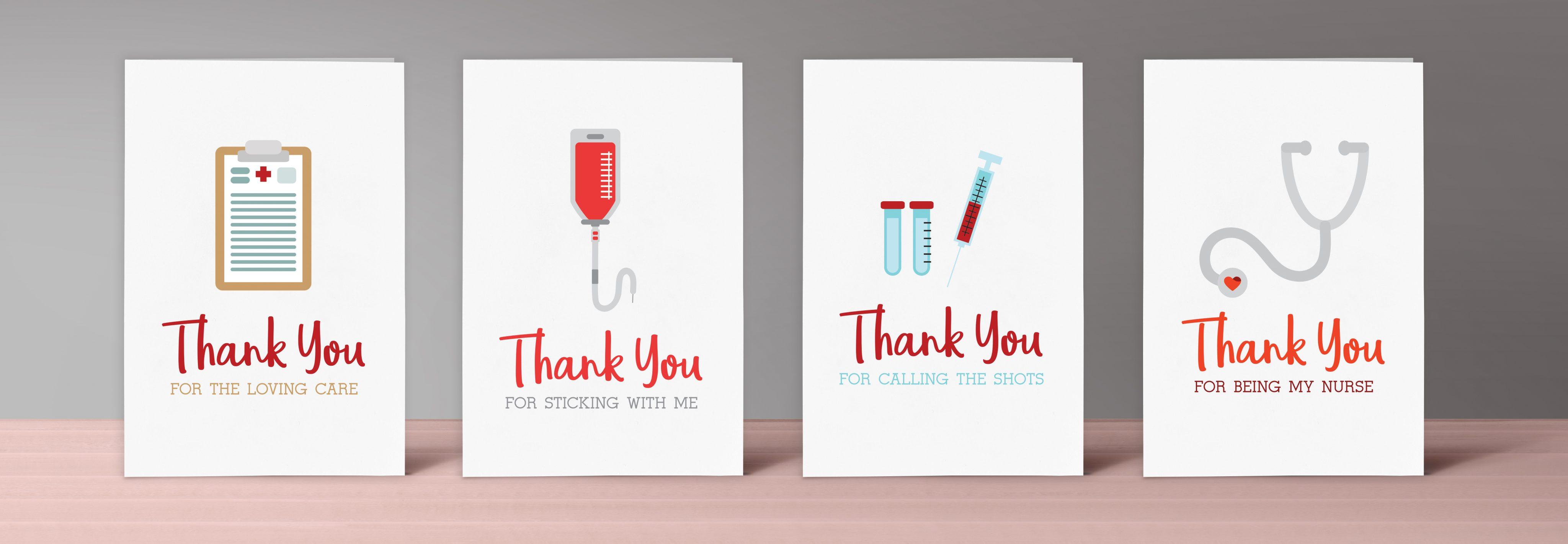 Printable Nurse Thank You Cards Set Of 4 NurseLifeGear