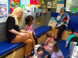 The book bus drove through Knighton, Wigston, Oadby and Stoneygate to see Nursery Rhymes.