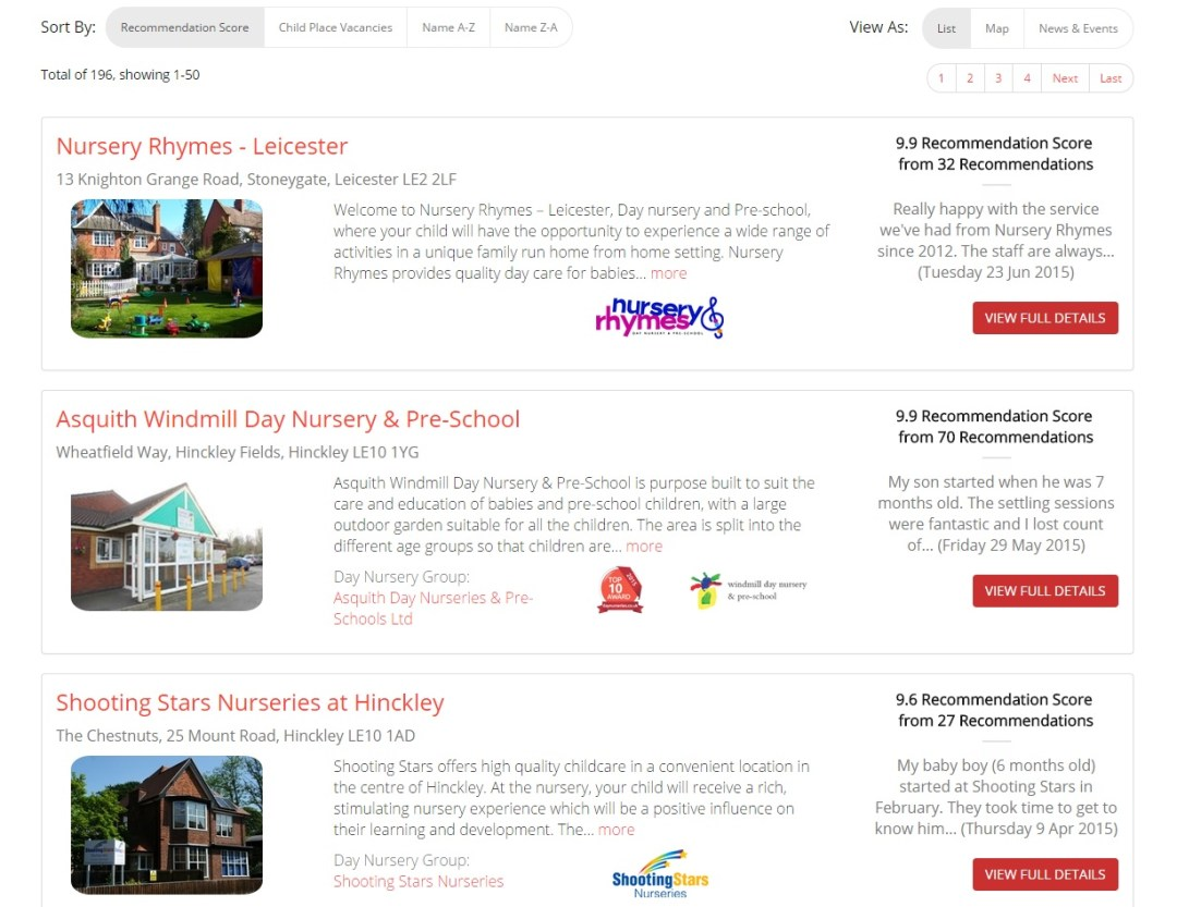 Day Nurseries in Leicestershire