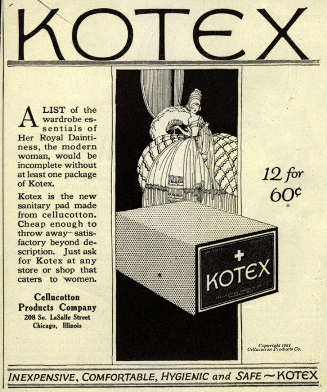 """1921 advertisement for Kotex sanitary pads that described them as """"inexpensive, comfortable, hygienic, and safe."""" (Delineator/Ad*Access, Duke University Libraries)"""