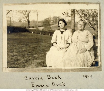 """""""Carrie and Emma Buck at the Virginia Colony for Epileptics and Feebleminded, taken by A.H. Estabrook the day before the Buck v. Bell trial in Virginia,"""" (1924) which legalized compulsory sterilization. The law still stands today. (Eugenics Archive)"""