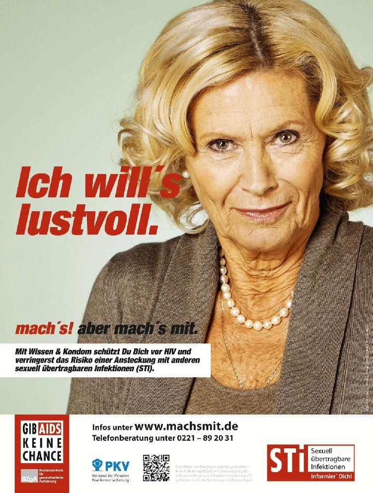 Poster from the German mach's mit campaign targeting AIDS awareness and sexual health.