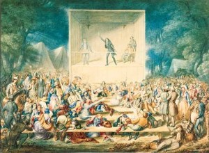 """""""Religious Camp Meeting,"""" a watercolor depiction by J. Maze Burbank, c. 1839. Source: Library of Congress."""