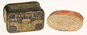 Left; Tin box containing Pennyroyal tablets Right; Paper covererd wood box with pills of unknown composition*
