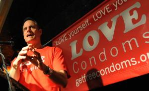 """Michael Weinstein, President of AHF, speaks at the launch of the launch of the """"Love Condoms"""" campaign to combat the spread of AIDS in 2009. (MARK RALSTON/AFP/Getty Images)"""