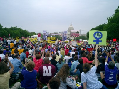 The 2004 March for Women's Lives Protest Rally in Washington, DC. One of many events in a decades-long struggle to maintain women's reproductive rights. (PrettyKateMachine/Flickr | CC BY-NC-ND)
