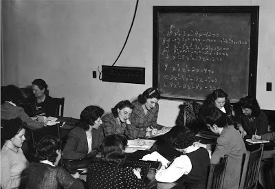 Women learning differential equations for calculating ballistic trajectories. The instructors included three men and nine women. (Source: Top Secret Rosies: The Female Computers of WWII.)