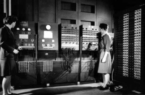 """Two women operating the ENIAC's main control panel while the machine was still located at the Moore School. Left: Betty Jennings (Mrs. Bryant) Right: Frances Bilas (Mrs. Spence)"" (Source: US Army Photo Public domain, via Historic Computers Images of the ARL Technical Library.)"