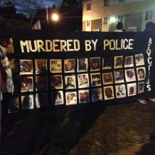 Banner illustrating the police killings of African Americans. (Austin C. McCoy. Licensed CC BY-SA.)