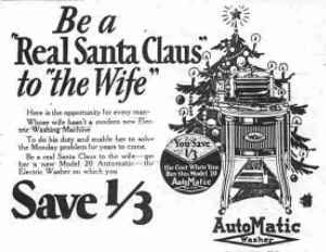 Newspaper advertisement from the 1940s encouraging men to buy their wives a dishwasher for Christmas.