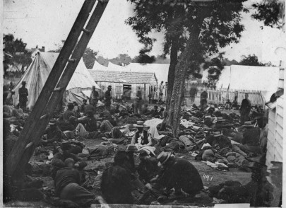 """""""Savage Station, Va. Field hospital after the battle of June 27,"""" June 30, 1862, James F. Gibson, photographer. (Library of Congress)"""
