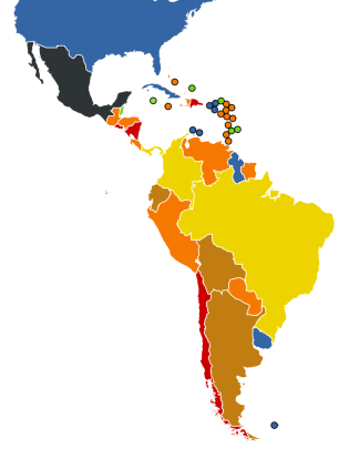 "Status of abortion laws in Latin America. Red, orange, brown, and yellow all indicate degrees of illegality (see Wikipedia for the legend). Map by Wikimedia user NuclearVacuum based on data from the United Nations Department of Economic and Social Affairs, Population Division, ""World Abortion Policies 2013"" and 2007 (PDF). (NuclearVacuum/Wikimedia Commons CC BY-SA)"