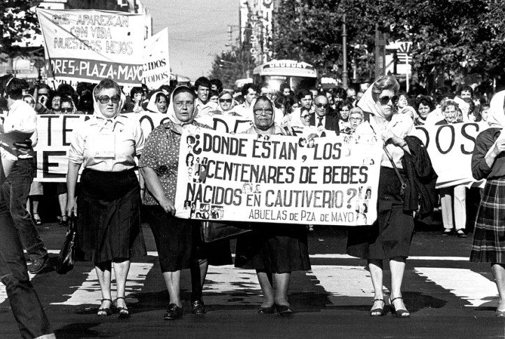 The Madres and Abuelas de la Plaza de Mayo formed in 1977 out of mothers and grandmothers demanding to know what had happened to their disappeared children and grandchildren.