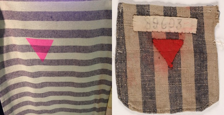 Urban Outfitters tapestry (left) and a fragment of a concentration camp inmate uniform with a red triangle (right). (Anti-Defamation League and United States Holocaust Memorial Museum Collection, Gift of the NARA.)