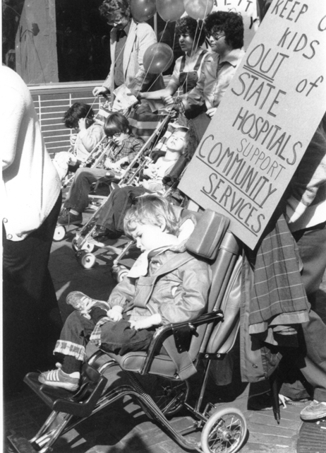 Activism against deplorabe conditions in institutions like Willowbrook (most famously) helped drive deinstitutionalization, but wasn't a simple process. (Disability History Exhibit/DHSS Alaska)