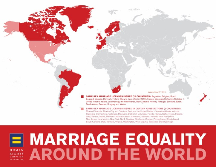Map of countries with marriage equality laws. (Human Rights Foundation)