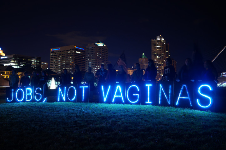 Protest by the group, Focus On Jobs, Not Vaginas