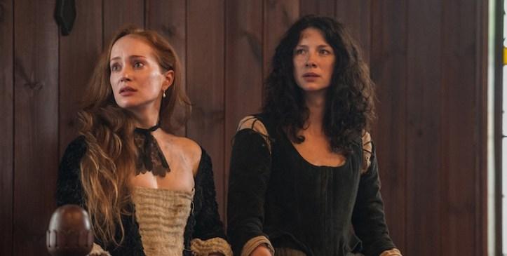 Outlander still frame of Clair with Geillis Duncan on trial.