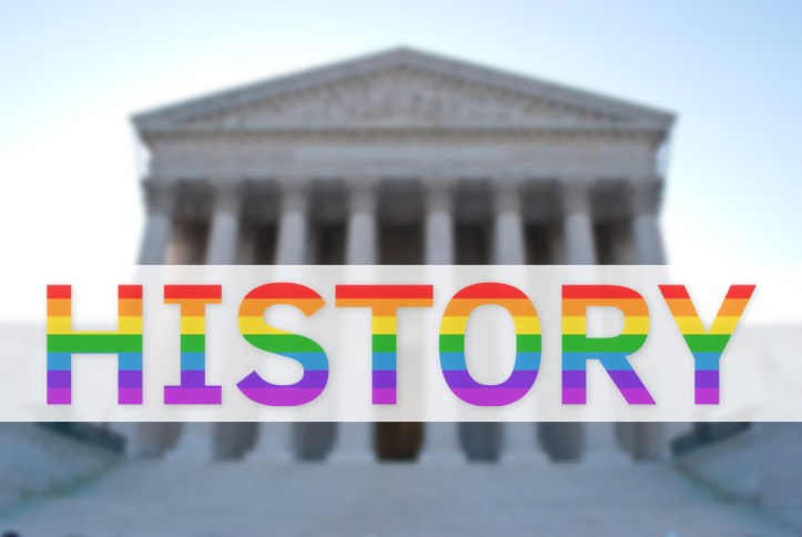 Photo of US Supreme Court building with History overlaid