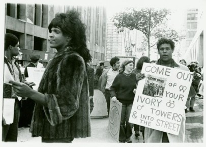 Marsha P. Johnson handing out flyers in support of gay students at New York University, 1970. (Diana Davies/NYPL, Manuscripts and Archives Division, Diana Davies Papers | Copyright Diana Davies)