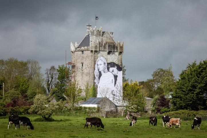 Mural by Joe Caslin on Medieval Caherkinmonwee Castle in County Galway. (David Sexton)