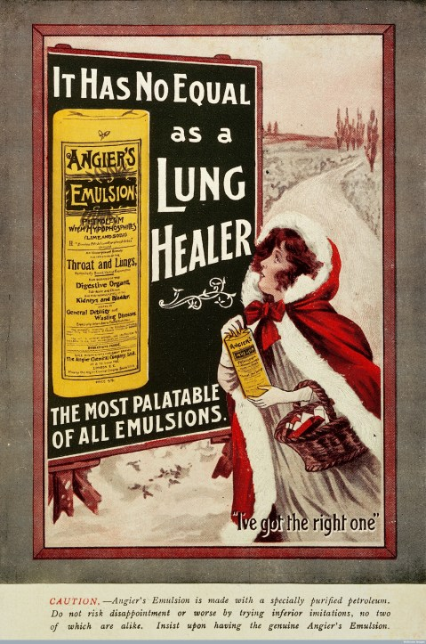 Angier's Emulsion, Lung Healer: Lady in the snow Credit: Wellcome Library, London. Wellcome Images images@wellcome.ac.uk http://wellcomeimages.org