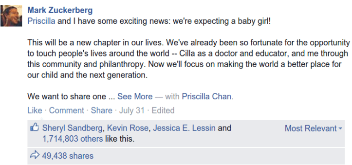 Screenshot from Zuckerberg facebook post announcing pregnancy
