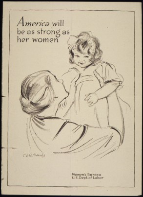 "World War II US Office of War Information poster reading: ""America will be as strong as her women"""
