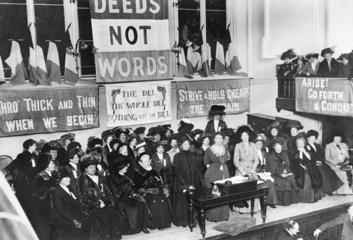 WSPU meeting in Manchester, England, ca. 1908. (Wikimedia)