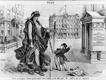 An 1878 Puck cartoon reflecting editors' opposition to newspapers that allowed classified ads for women doctors who catered to other women. (Library of Congress | Public domain)