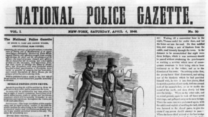 Front page of the April 4, 1846, edition of the National Police Gazette. (Library of Congress | Public domain)