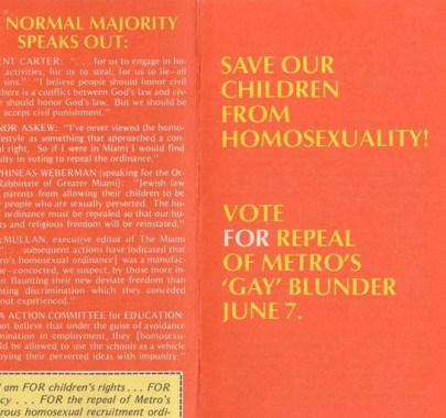 """James M. Foster, """"Save our children from homosexuality!"""" Pamphlet. (ca. 1977). James M. Foster Papers, #7439. Division of Rare and Manuscript Collections, Cornell University Library."""