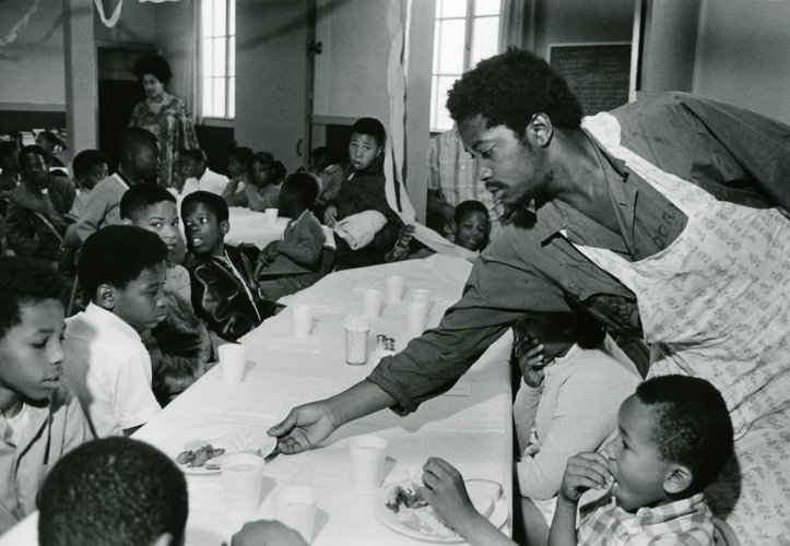 Charles Bursey at one of the Black Panthers' Free Breakfast Program locations. (Pirkle Jones and Ruth-Marion Baruch/PBS)