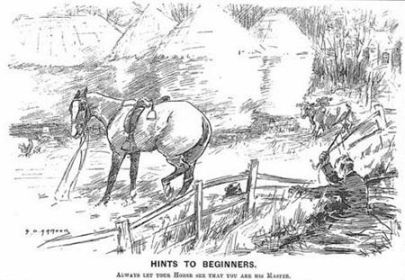 """Hints to Beginners,"" an illustration from Punch magazine in 1900 with the caption, ""Always Let Your Horse See You Are Her Master."""