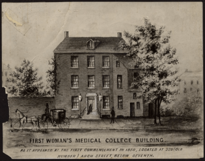 "627 Arch Street, Philadelphia, the first building to house the Female Medical College of Pennsylvania (later known as Woman's Medical College of Pennsylvania), ca. 1850. (""Doctor or Doctress? Explore American History through the Eyes of Women Physicians,"" The Legacy Center, Drexel University College of Medicine Archives & Special Collections.)"