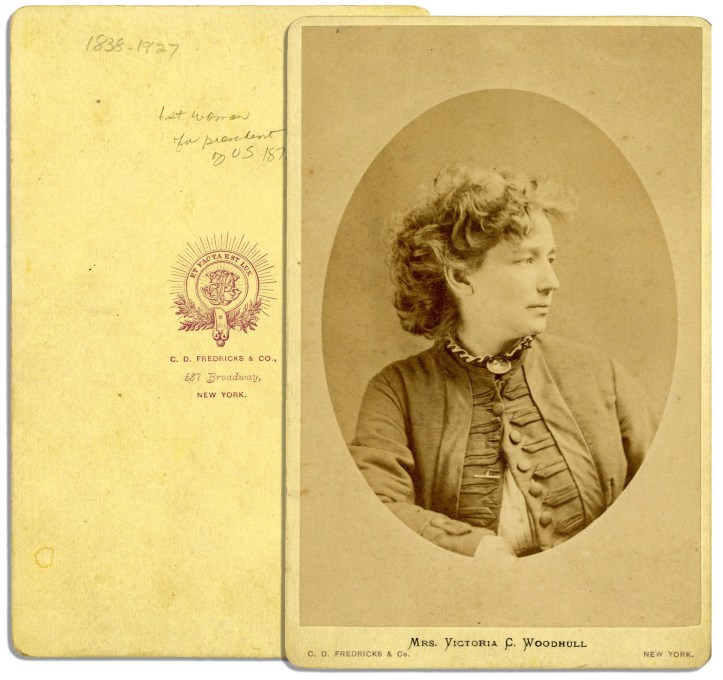 Cabinet card portrait photograph of Victoria Woodhull, ca. 1970. (C.D. Fredericks & Co./Wikimedia)
