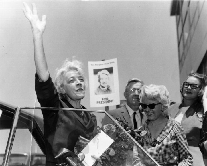 Senator Margaret Chase Smith in Daly City, California, 1964, for the Republican National Convention. (AP/Smith Library)