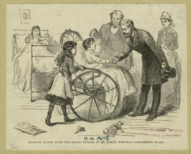 "Art and Picture Collection, The New York Public Library. ""Shaking Hands With The House Father At St. Luke'S Hospital--Children'S Ward."" New York Public Library Digital Collections. http://digitalcollections.nypl.org/items/510d47e0-d3b9-a3d9-e040-e00a18064a99"