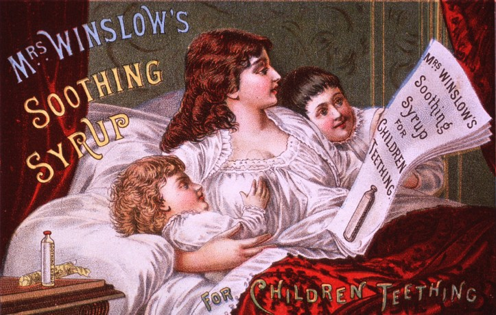 """Patent medicines like """"Mrs. Winslow's Soothing Syrup"""" and """"Hooper's Anodyne, the Infant's Friend"""" were common in turn-of-the-century US and UK. Many, like the 1885 """"soothing syrup"""" advertised here, contained morphine. (US National Library of Medicine 