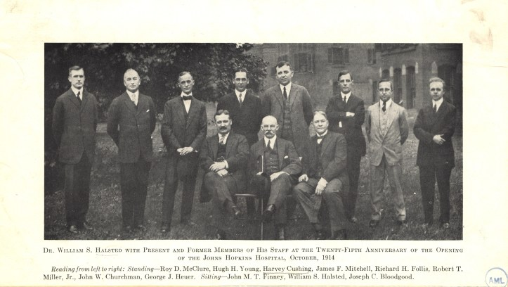William Halsted (1852-1922), seated in the center of this photo, was first chief of surgery at Johns Hopkins Hospital and Professor of Surgery at Johns Hopkins University. The pioneer of radical mastectomy, be became addicted to cocaine in the 1880s. He switched to morphine soon after and remained on it for the rest of his life. He never faced any kind of criminal action. (US National Library of Medicine)