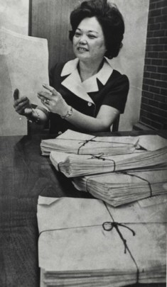 """""""Patsy T. Mink reviews signatures needed to put her name on the Oregon presidential ballot, March 10, 1972."""" (J. E. Ericksen/Oregon Statesmen/Patsy T. Mink Papers, Manuscript Division, Library of Congress)"""