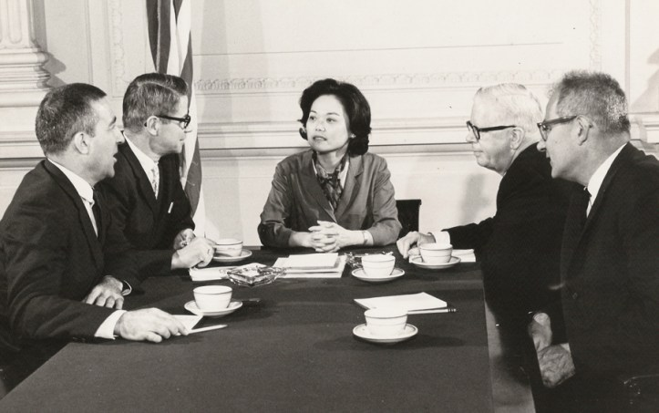 US Representative Patsy Takemoto Mink in a meeting with cabinet members, nd. (Making Waves Films)