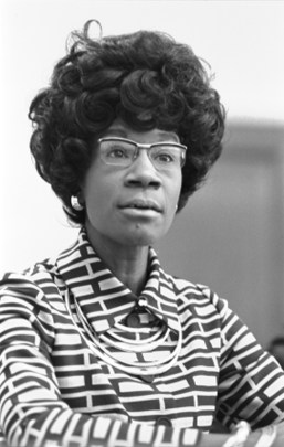 Representative Shirley Chisholm announcing her candidacy for the Democratic presidential nomination, January 25, 1972. (Thomas J. O'Halloran/US Library of Congress)