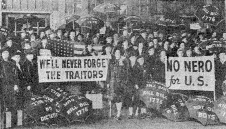 Members of the Mothers' Movement protesting Bill 1776, which would become the Lend-Lease Act, c. 1941.