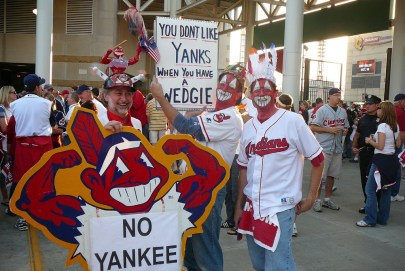 Cleveland Indians fans in 2007. Fans in similarly stereotypical dress appeared at the 2016 World Series games. (Evan Brunell/Flickr | CC BY-NC-ND)